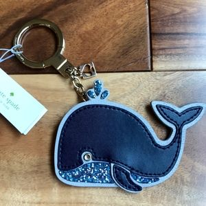 Kate Spade Whale Key Fob Chain WORU0107 Offshore Blue Leather Charm Keychain